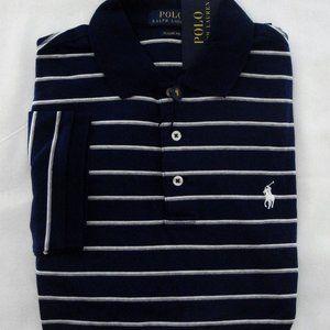 Ralph Lauren SS Navy Striped Pima Soft Touch Polo